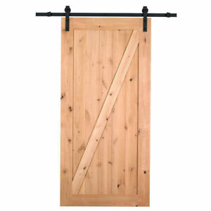 Farm Style Solid Wood Panelled Wood Prehung Interior Barn Door Kit Beige