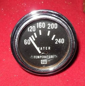 Mint Vintage Stewart Warner 2 1 8 Sw Electric Water Temp Gauge 6 V 1966 Date