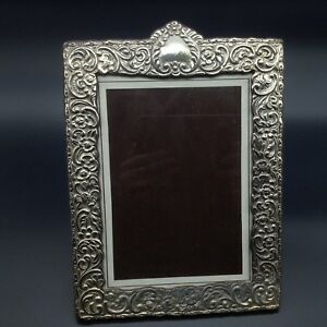 925 Sterling Silver Repousse Ornate Photo Picture Frame Victorian 3 Leaf Clover