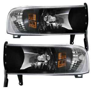 Black Housing Clear Lens Amber Reflector Headlights For 1994 2001 Dodge Ram