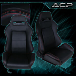 Pair Black Cloth Red Stitching Reclinable Cloth Type R Racing Seats W Sliders