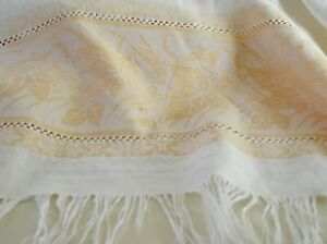 Vintage Handwoven Luscious Linen Damask Tablecloth Tt826