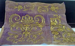 Fabulous Antique Stumpwork Piece W Purple Velvet Metallic Embroidery Tt833
