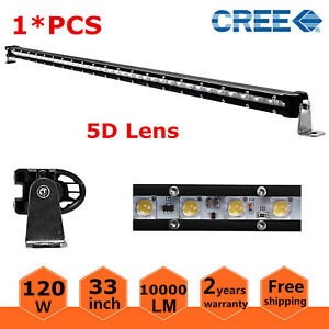 33 Inch Slim Single Row 120w Led Light Bar 5d Lens Boat 4wd Atv Offroad 32 35