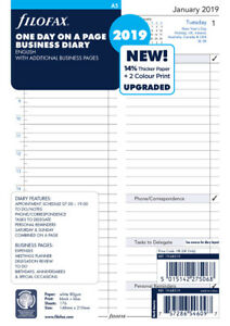 Filofax Paper Refill Daily Business Style English A5 2019 6851919