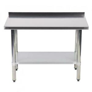 24 x48 Stainless Steel Work Table With Backsplash Kitchen Restaurant Table Eb
