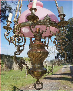 French Large Hanging Oil Lamp Chandelier 7 Light Bronze Brass Opaline Shade 1850