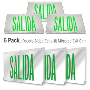 Led Mirrored Green Exit Sign Indoor Emergency Fixtures Fire Lights Panel 6pack