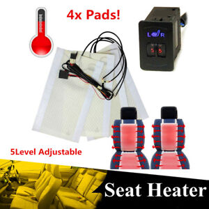 4pcs Universal Carbon Fiber Car Heated Seat Heater Pads Kit W Round Switch