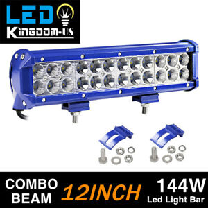 12 144w Led Light Bar Blue Work Spot Flood Combo Lamp Offroad Suv Atv 4wd Ute