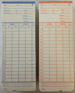 800 Time Cards For Pyramid 2400 At 2400 At 2500 Time Clocks 42426 Compatible