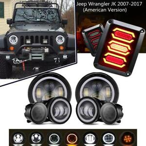 7 Led Headlight Fog Lamp turn Signal tail Lights Combo For Jeep Wrangler Jk