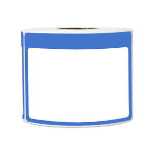 Blue Name Tag Blank Sticker Labels Write on Surface Colorful Border 3 5 X 2 25