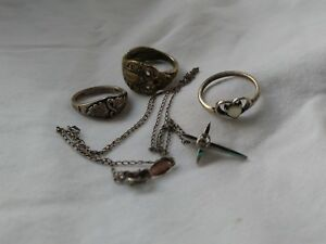 Sterling Silver Ring Lot Necklace Scrap Metal 11g