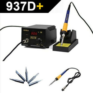 110v 937d Soldering Station Smd Welding Solder Iron Gun Tool 5 Tips Stand Esd