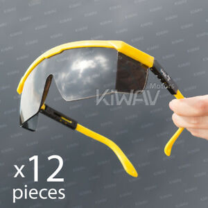 Safety Glasses Smoke Lens Yellow Frame Top Side Shield Adjustable 12 Pairs Lot