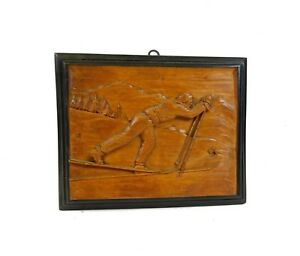 Rare Antique Sport Wooden Skiing Carved Picture Switzerland Art Deco 1930