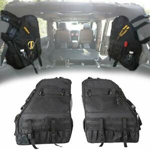 2x Black Roll Bar Storage Bag With Multi pockets For Jeep Wrangler 2007 2017 An
