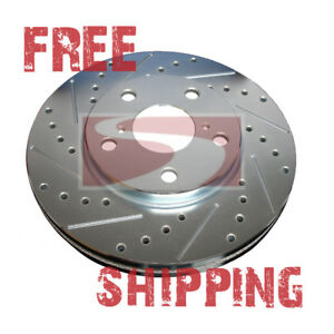 Front Rear Set Performance Cross Drilled Slotted Brake Disc Rotors Tbs92581