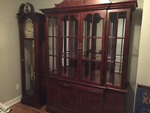 Cherry Furniture Grandfather Clock China Hutch Table Queen Bed Set