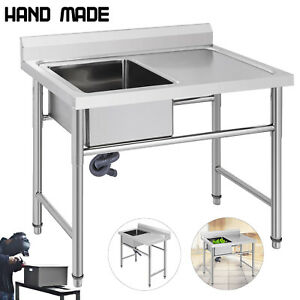 Commercial Stainless Steel Kitchen Utility Sink W right Platform 39 W Handmade