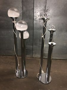 Pair Murano Italian Chrome Glass Three Globe Floor Lamp Mid Century Moder Used