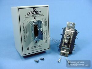 Leviton Manual Motor Starter Switch Double Pole Single Throw W lockout 30a N1302