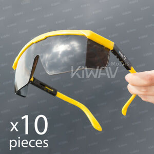 Safety Glasses Smoke Lens Yellow Frame Top Side Shield Adjustable 10 Pairs Lot