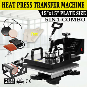 5in1 Combo T shirt Heat Press Transfer 15 x15 Pressing Machine Cap Swing Away