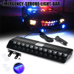 New 12led Car Dash Emergency Strobe Flash Light Bar Police Warning Lamp Blue