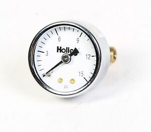 Holley 26 500 1 5 Chrome Mechanical Fuel Pressure Gauge 0 15 Psi White Face