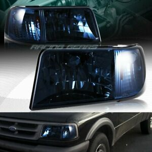 Fit 1993 1997 Ford Ranger Smoke Lens Head Lights 1 Piece W Amber Reflector Lamps