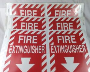 Qty 3 Brady V Fire Extinguisher Signs 96908 Y78269 Free Shipping