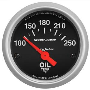 Autometer Sport Comp Electrical Oil Temperature Gauge 2 1 16 Dia Black Face 3347