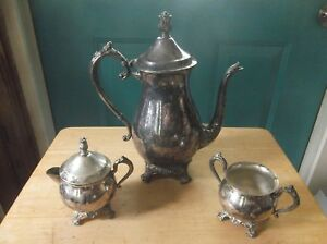 F B Rogers Silver Plate Silver Co Coffee Pot Creamer Sugar Bowl Pattern 2305
