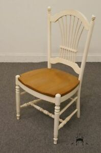 Ethan Allen Country French Collection White Wheat Back Dining Side Chair 26 6200