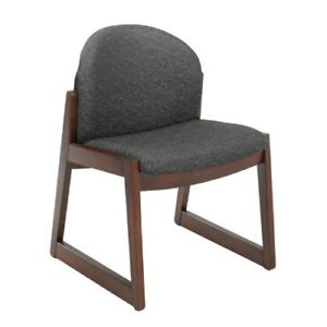 Safco Urbane Armless Guest Chair Fabric Black Seat Back Wood 7940bl1