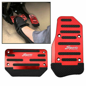 2x Red Universal Automatic Racing Sports Non Slip Pedal Brake Gas Pad Car Cover