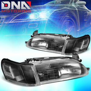 For 1993 1997 Toyota Corolla Black Housing Clear Side Driving Headlight lamps