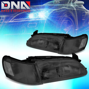 For 1993 1997 Toyota Corolla Smoked Housing Clear Side Driving Headlight Lamps