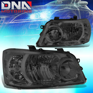 For 2004 2006 Toyota Highlander Pair Smoked Housing Clear Corner Headlight Lamps