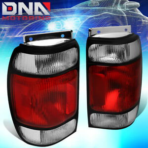 For 1995 1997 Ford Explorer Pair Red Clear Lens Tail Light Brake reverse Lamps
