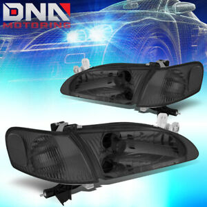 For 1998 2000 Toyota Corolla Smoked Housing Clear Corner Driving Headlight Lamps