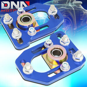 For 1979 1989 Ford Mustang Front Aluminum Adjustable Camber Caster Plates Blue
