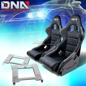 Nrg Type R Deep Bucket Racing Seats Full Stainless Bracket For 99 04 Mustang Sn