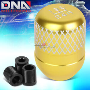Jdm Universal M8 M10 M12 Racing Manual 5 Speed Gold Netted Aluminum Shift Knob