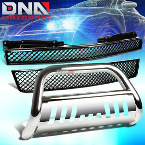 Front Bumper Meshed Grille Guard Black Bull Bar Fit 07 12 Chevy Tahoe Suburban