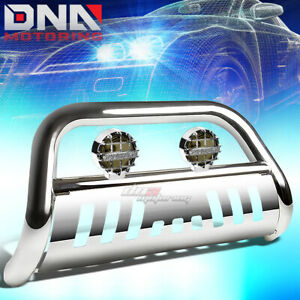 For 03 08 Honda Pilot 06 ridgeline Chrome Bull Bar Grille Guard smoked Fog Light