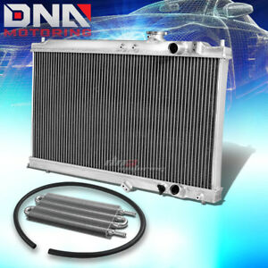 For 94 01 Acura Integra Mt 2 Row Dual Core Full Aluminum Radiator Oil Cooler