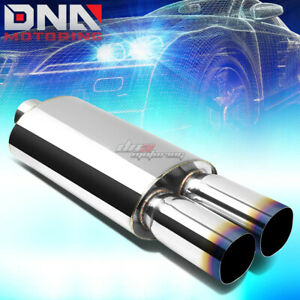 3 inlet 3 Dual Square Burnt Tips Performance Stainless Oval Exhaust Muffler